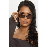 Brown Tortoiseshell Narrow Slim Angular Cat Eye Sunglasses