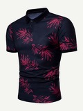 Men Leaf Print Polo Shirt