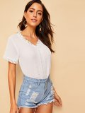 V-neck Lace Panel Blouse