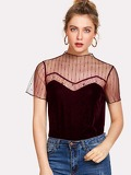 Mesh Sweetheart Velvet Top