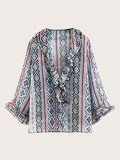 Ruffle Trim Tribal Print Blouse