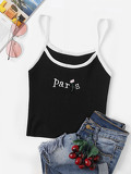 Embroidered Rib Knit Ringer Cami Top