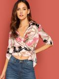Scarf Print Tab Sleeve Knotted Wrap Top