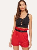 Frill Waist Pocket Side Belted Shorts