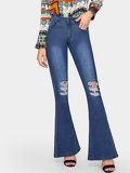 Flare Hem Ripped Jeans