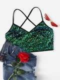 Sequin Panel Criss Cross Cami Top