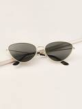Men Metal Frame Cat Eye Sunglasses