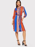 Roll Tab Sleeve Striped Belted Shirt Dress