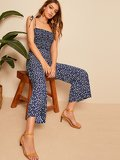 Shoulder Knot Shirred Ditsy Floral Jumpsuit