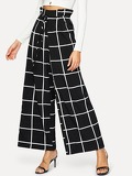 Paperbag Waist Wide Leg Grid Pants