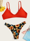 Spaghetti Strap Top With Floral High Cut Bikini