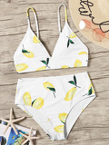 Random Lemon Print Plunge Top With High Waist Bikini