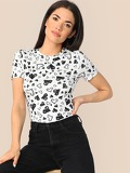 Allover Heart Print Slim Fitted Tee