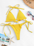 Rib Halter Top With Tie Side Triangle Panty Bikini