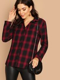 Curved Hem Plaid Shirt