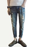 Men Rolled Hem Ripped Wash Jeans