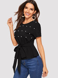 Pearls Beaded Knot Top