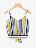 Tie Back Striped Crop Cami Top