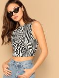 Zebra Print Crop Sleeveless Top