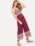 Button Front Drawstring Waist Tribal Print Jumpsuit