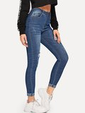 Roll Hem Ripped Skinny Ankle Jeans