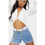 White Western Double Buckle Chain Belt
