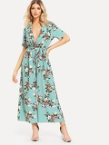 Plunging Surplice Neck Wide Leg Floral Belted Jumpsuit
