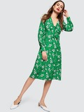 Plunging Neck Knot Front Floral Dress