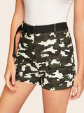 Flap Pocket Camo Shorts With Push Buckle Belt