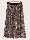 Leopard Print Pleated Chiffon Pants