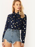 Tie Neck Single Breasted Polka Dot Top