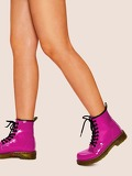 Plain Neon Lace-up Boots
