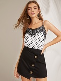 Lace Trim Polka Dot Cami Top