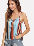 O-Ring Zip Front Striped Cami Top
