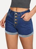 Button Fly Rolled Hem Denim Shorts