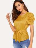 Self Tie Curved Hem Blouse