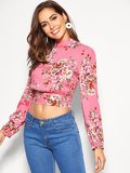 Cut-out Knotted Back Floral Crop Top