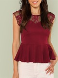 Zip Up Lace Insert Peplum Top