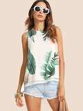 Slit Layered Back Tropical Textured Top