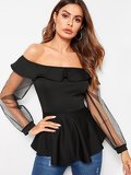 Contrast Mesh Cuff Off The Shoulder Blouse