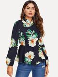 Mock Neck Zip Back Floral Print Peplum Top