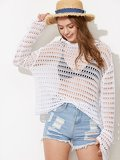 Drop Shoulder Bell Sleeve Eyelet Sweater