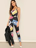 Poster Print Form Fitted Cami Jumpsuit