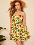 Knot Back Sunflower Print Cami Dress
