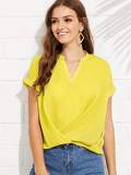 V Neck Pleated Hem Blouse