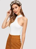 Mock-neck Cut Out Fitted Top