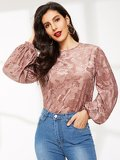 Bishop Sleeve Floral Jacquard Velvet Top