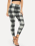 Color Block Plaid Leggings