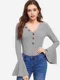 Button Front V-Neck Bell Sleeve Tee