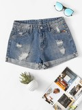 Roll-Up Ripped Denim Shorts